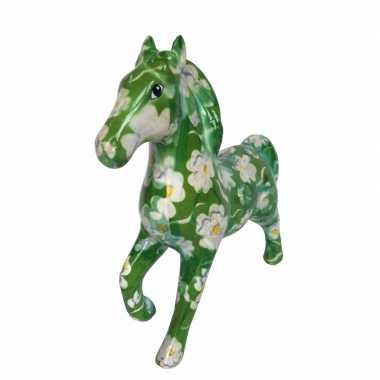 Goedkope spaarpot paard groen bloemen