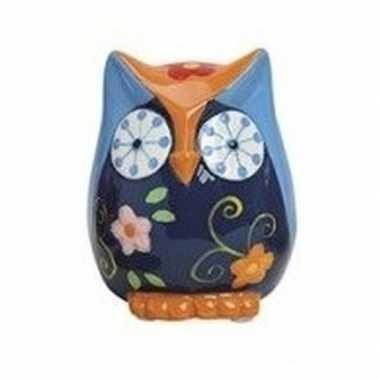 Goedkope spaarpot uil blauw/oranje keramiek