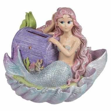 Goedkope spaarpot zeemeermin paarse schatkist