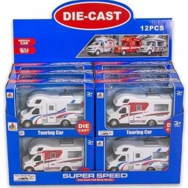 Goedkope speelgoed auto camper wit/rood