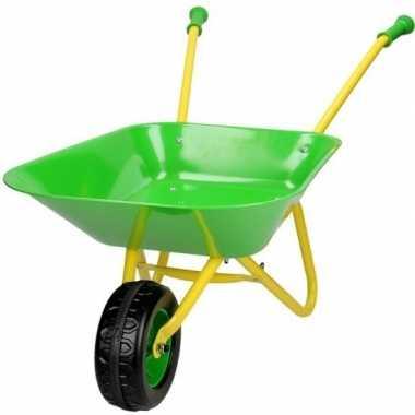 Goedkope speelgoed kruiwagen groen/geel kinderen