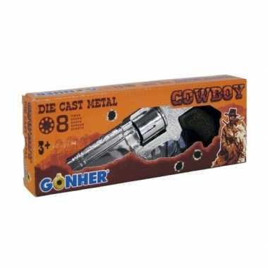Goedkope speelgoed plaffertjes/klappertjes pistool schots zilver