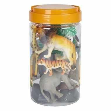 Goedkope speelset safaridieren rubber emmer