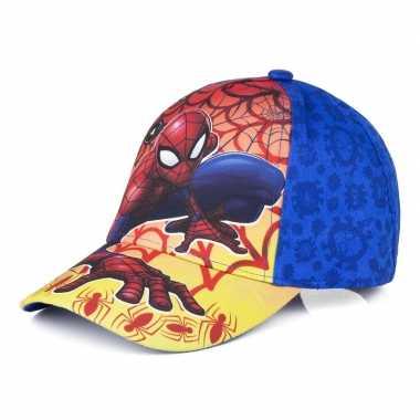 Goedkope spiderman pet/cap vlammen blauw kinderen