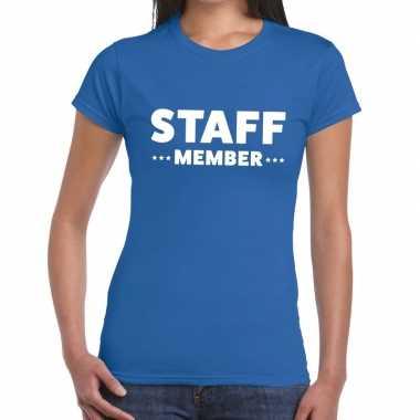 Goedkope staff member / personeel tekst t shirt blauw dames