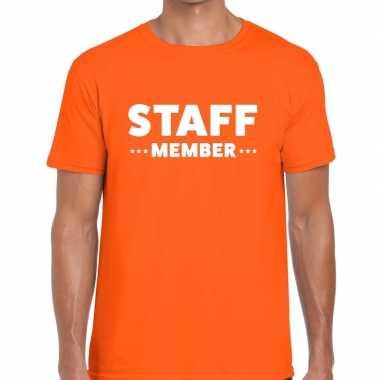 Goedkope staff member / personeel tekst t shirt oranje heren