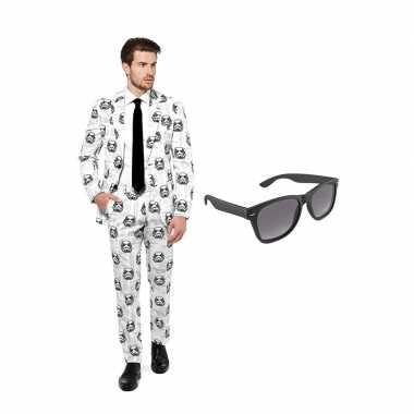 Goedkope stormtrooper heren kostuum maat (l) gratis zonnebril
