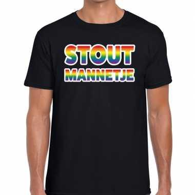 Goedkope stout mannetje regenboog gaypride shirt zwart heren