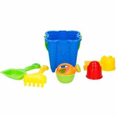 Goedkope strand/zandbak speelgoed blauwe emmer vormpjes schepjes