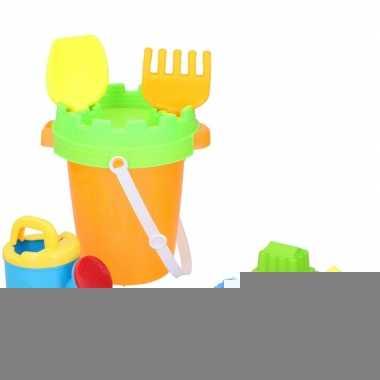 Goedkope strand/zandbak speelgoed oranje emmer vormpjes schepjes