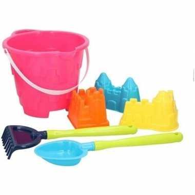 Goedkope strand/zandbak speelgoed roze emmer vormpjes schepjes