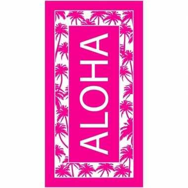 Goedkope strandlaken/badlaken palmbomen roze/wit aloha