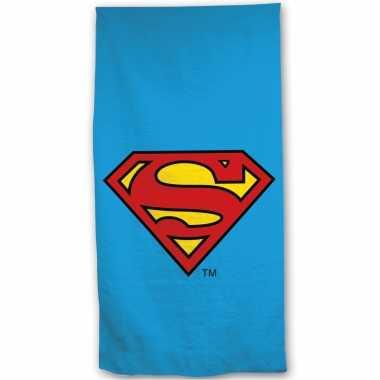Goedkope strandlaken/badlaken superman blauw