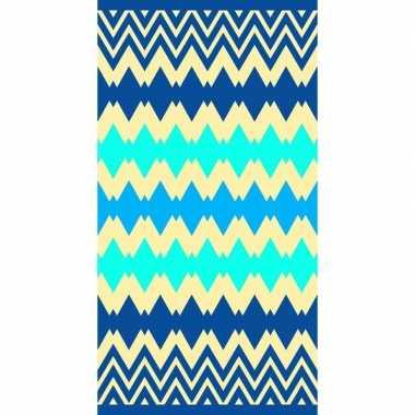 Goedkope strandlaken/badlaken zigzag blauw kenton