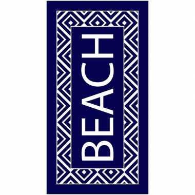 Goedkope strandlaken/badlaken zigzag navy/wit beach