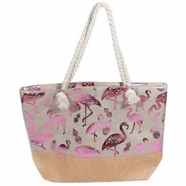 Goedkope strandtas flamingo/ananas creme/metallic roze