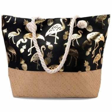 Goedkope strandtas flamingo/ananas zwart/goud