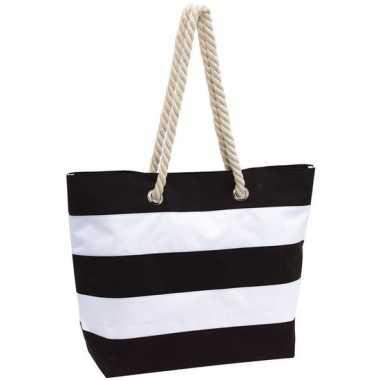 Goedkope strandtas gestreept zwart/wit