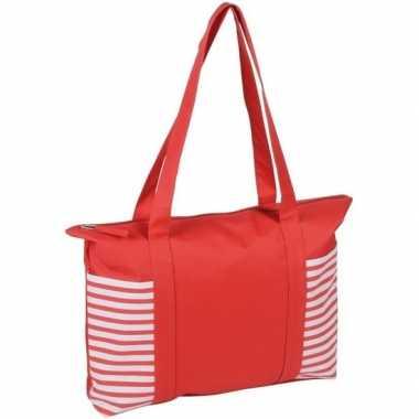 Goedkope strandtas/shopper rood/wit streepmotief