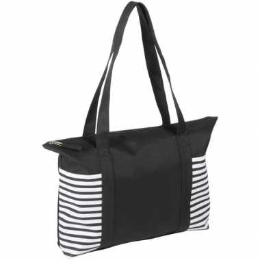 Goedkope strandtas/shopper zwart/wit streepmotief
