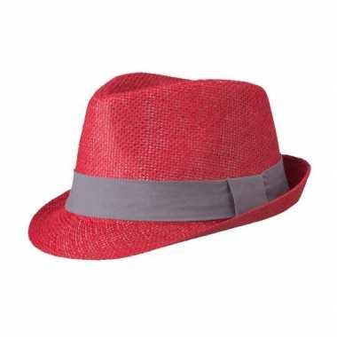 Goedkope street style trilby hoedje rood donkergrijs