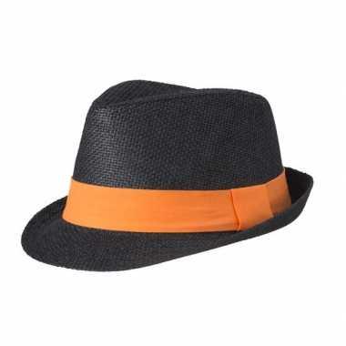 Goedkope street style trilby hoedje zwart oranje