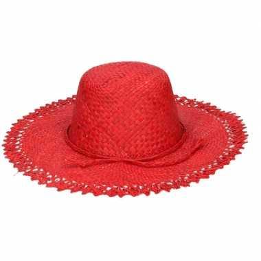 Goedkope stro strandhoed/zonnehoed rood tresse dames