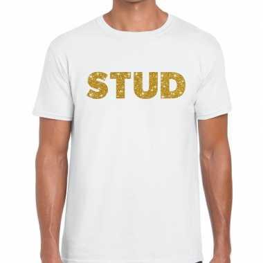 Goedkope stud goud glitter tekst t shirt wit heren