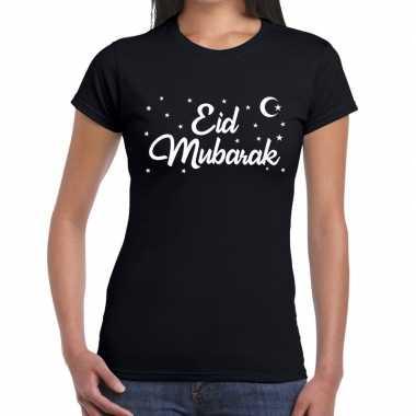 Goedkope suikerfeest eid mubarak t shirt zwart dames