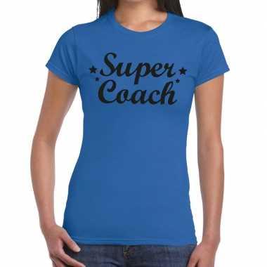 Goedkope super coach cadeau t shirt blauw dames