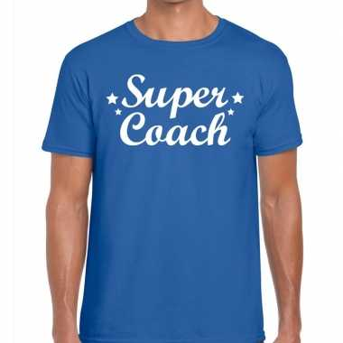 Goedkope super coach cadeau t shirt blauw heren