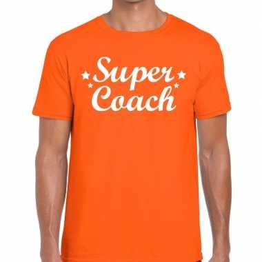 Goedkope super coach cadeau t shirt oranje heren