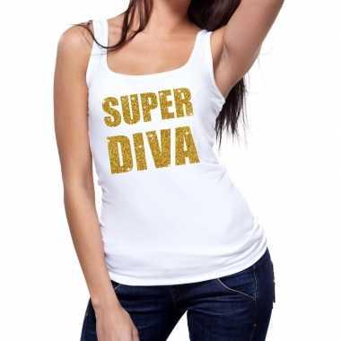 Goedkope super diva glitter tanktop / mouwloos shirt wit dames