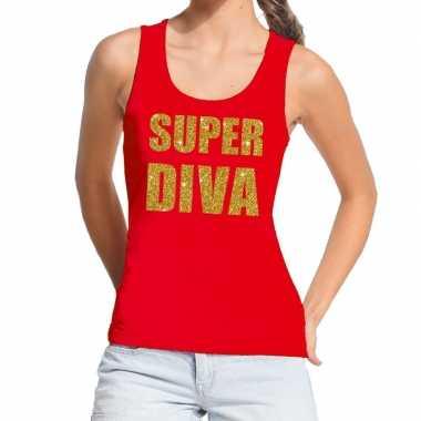 Goedkope super diva glitter tekst tanktop / mouwloos shirt rood dames