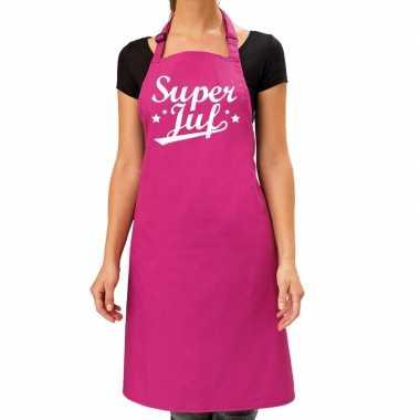 Goedkope super juf cadeau keuken schort roze dames