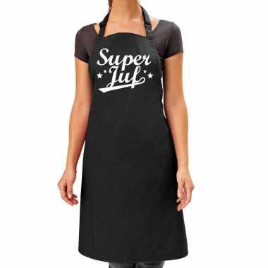 Goedkope super juf cadeau keuken schort zwart dames