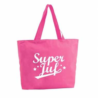 Goedkope super juf shopper cadeau tas fuchsia roze