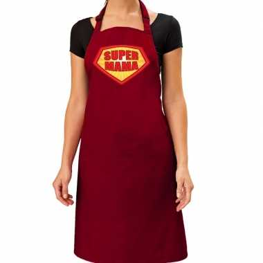 Goedkope super mama barbeque schort / keukenschort bordeaux rood dame