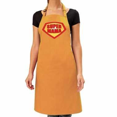 Goedkope super mama barbeque schort / keukenschort oker geel dames