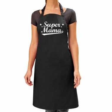 Goedkope super mama cadeau bbq/keuken schort zwart dames