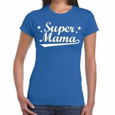 Goedkope super mama cadeau t shirt blauw dames