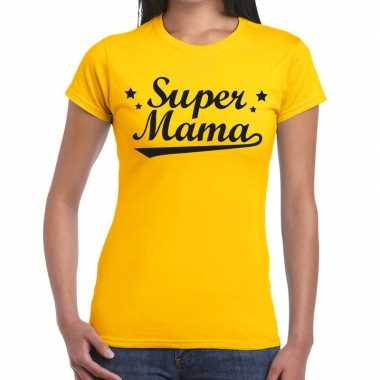 Goedkope super mama cadeau t shirt geel dames