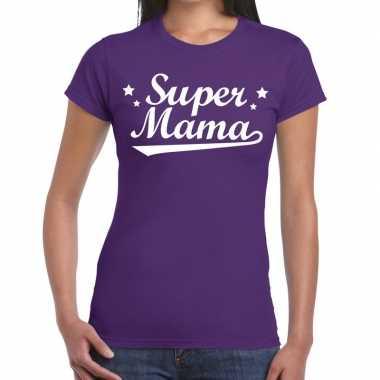 Goedkope super mama cadeau t shirt paars dames