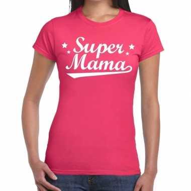 Goedkope super mama cadeau t shirt roze dames