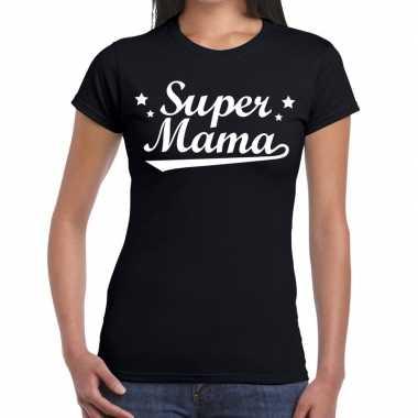 Goedkope super mama cadeau t shirt zwart dames