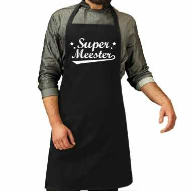Goedkope super meester cadeau bbq/keuken schort zwart heren