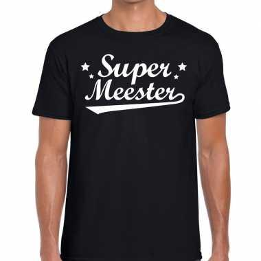Goedkope super meester cadeau t shirt zwart heren