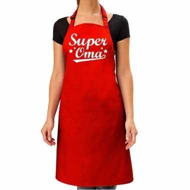 Goedkope super oma cadeau bbq/keuken schort rood dames