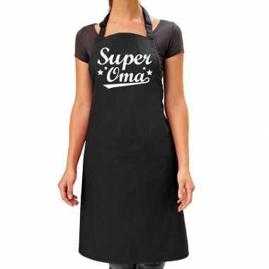 Goedkope super oma cadeau bbq/keuken schort zwart dames