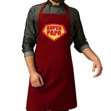 Goedkope super papa barbeque schort / keukenschort bordeaux rood her